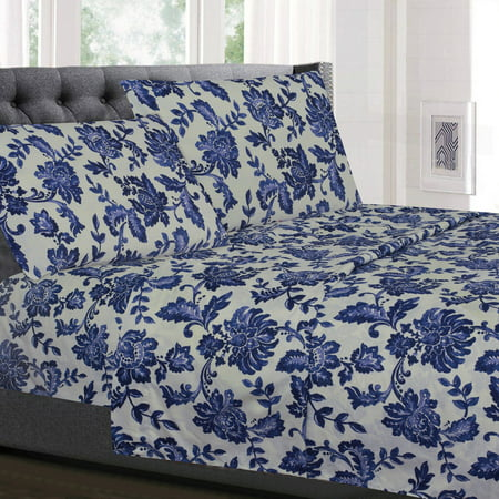 Tuscany Bedding - Tuscany Navy Floral Pattern 4-Piece 1800 Thread Count Sheet Set