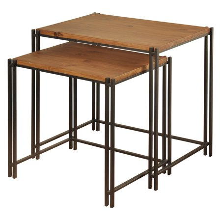 Medium Cherry Wood Top (Medium Wood Nesting Tables - Cherry Top - Black Powder Coat Base - 2-Piece Set )