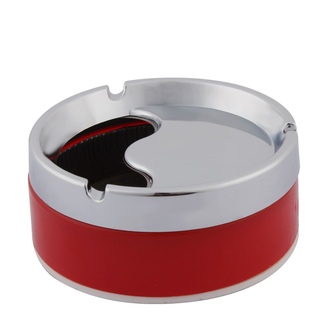 Home Office Cylinder Shape Rotatable Cigarette Holder Case Ashtray  Container Red