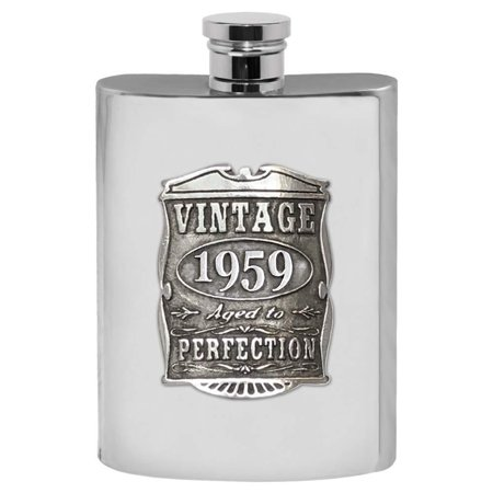 English Pewter Company Vintage Years 1959 60th Birthday or Anniversary Pewter Liquor Hip Flask - Unique Gift Idea For Men [VIN016] ()