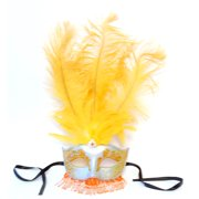 Exotica Beaded Eye Costume Mask W/Feather: Silver/Apricot