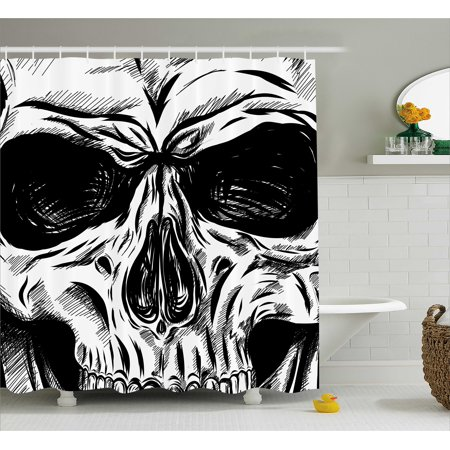 Halloween Shower Curtain, Gothic Dead Skull Face Close Up Sketch Evil Anatomy Skeleton Artsy Illustration, Fabric Bathroom Set with Hooks, Black White, by Ambesonne