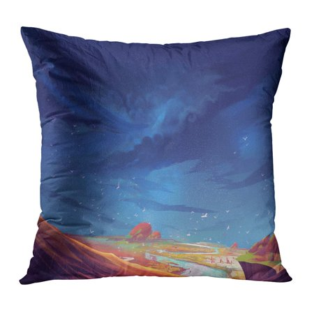ECCOT Anime The Scene on Strange Planet Before Storm Comes Realistic Sci Fi Topic Space Cartoon Game Creature PillowCase Pillow Cover 20x20
