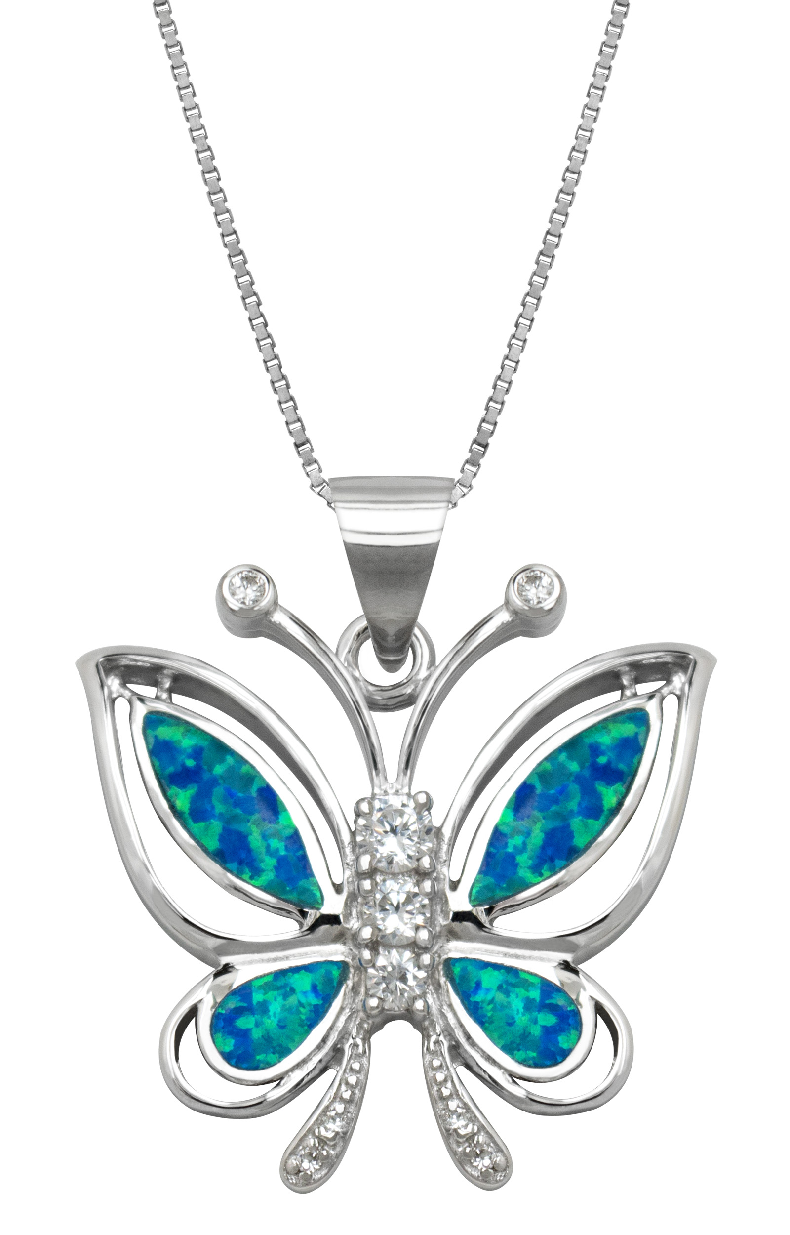 """Sterling Silver Butterfly Cubic Zirconia Necklace Pendant with Synthetic Blue Opal and 18"""" Box Chain by"""