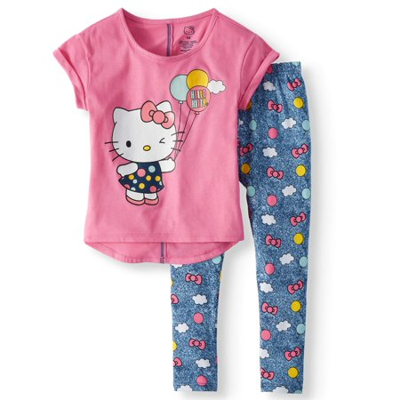 Graphic T-Shirt and Capri Legging, 2-Piece Outfit Set (Little Girls)