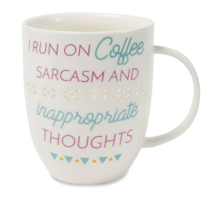 Pavilion - I Run On Coffee Sarcasm and Inappropriate Thoughts - Pierced patterned Large 24 oz Coffee Mug Tea Cup