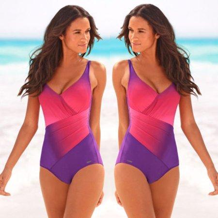 dcb35a087e UKAP - Women's Sexy One Piece Bikini Monokini Swimwear Colorblock Swimsuit  Beach Swimming Costume - Walmart.com