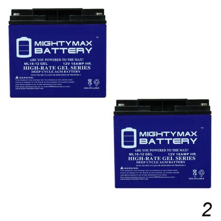 12V 18AH GEL Battery For SpinLife Go-Go Elite Traveller - 2 Pack