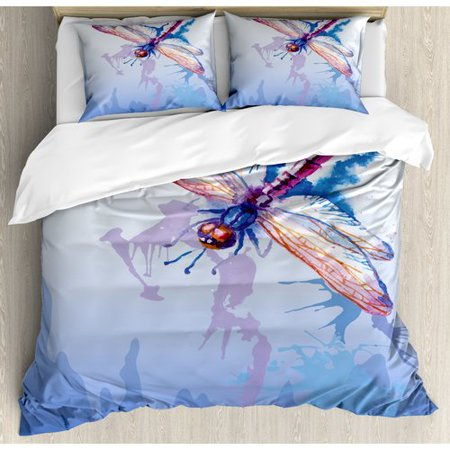 Ambesonne Dragonfly Colorful Moth Watercolored Design with Abstract Grunge Ombre Print Duvet Cover Set