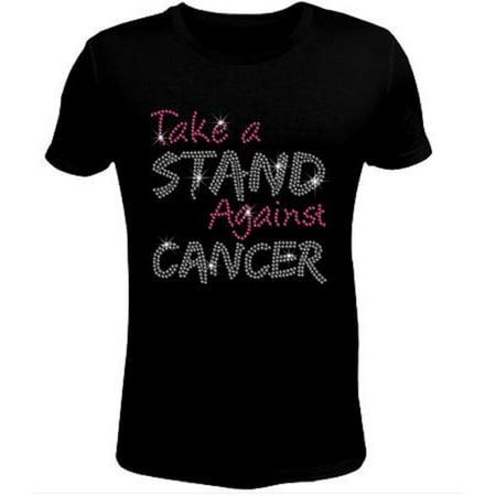 Rhinestone Womens T Shirt Breast Cancer Stand JRW-097 - S / Women Short-Sleeve-Crewneck-T-Shirt