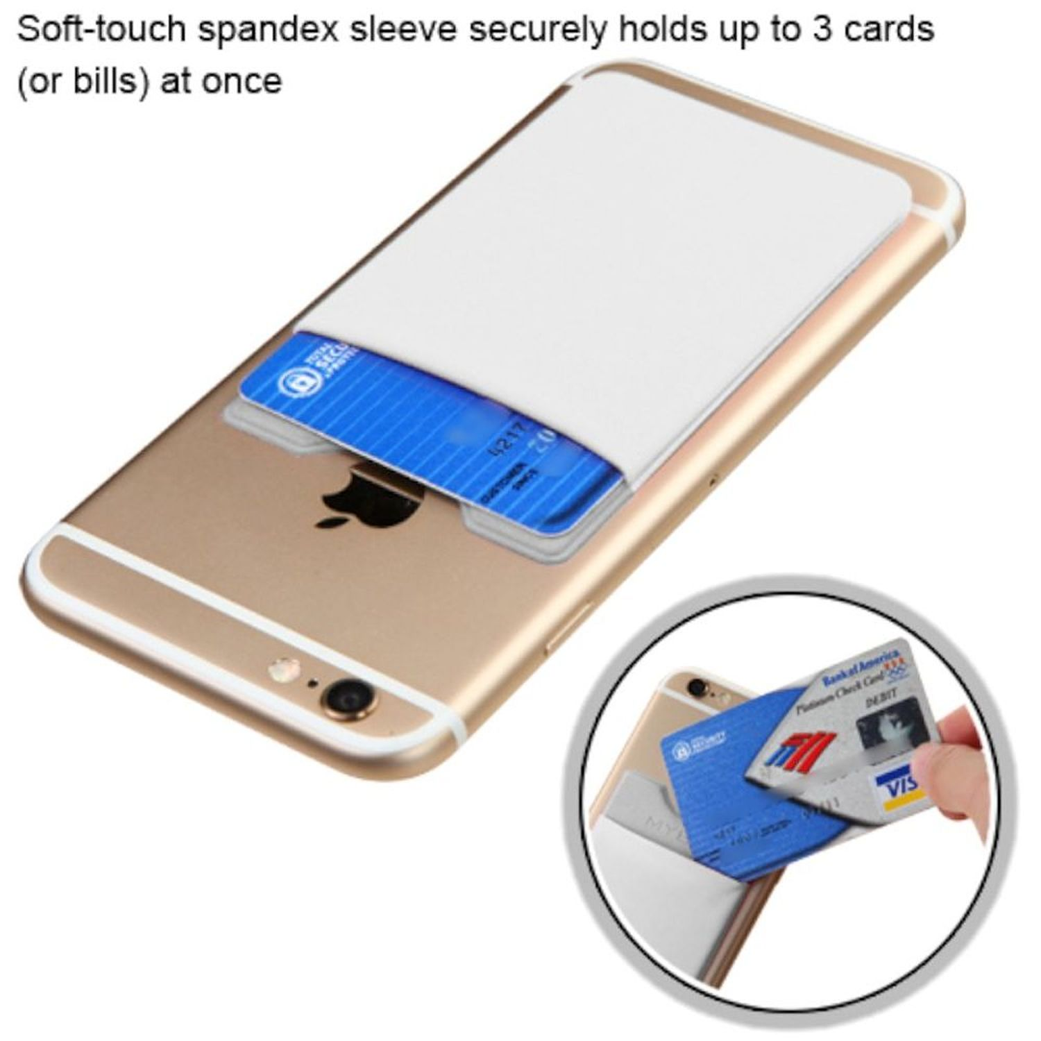 Insten 3M Adhesive Stick on Credit Card Wallet Pouch Cover for Cell Phone Apple iPhone X 8 7 6 6s Plus 5s SE Samsung Galaxy J7 J3 S9 S8 Note 8 LG V30 Stylo 3 G6 White