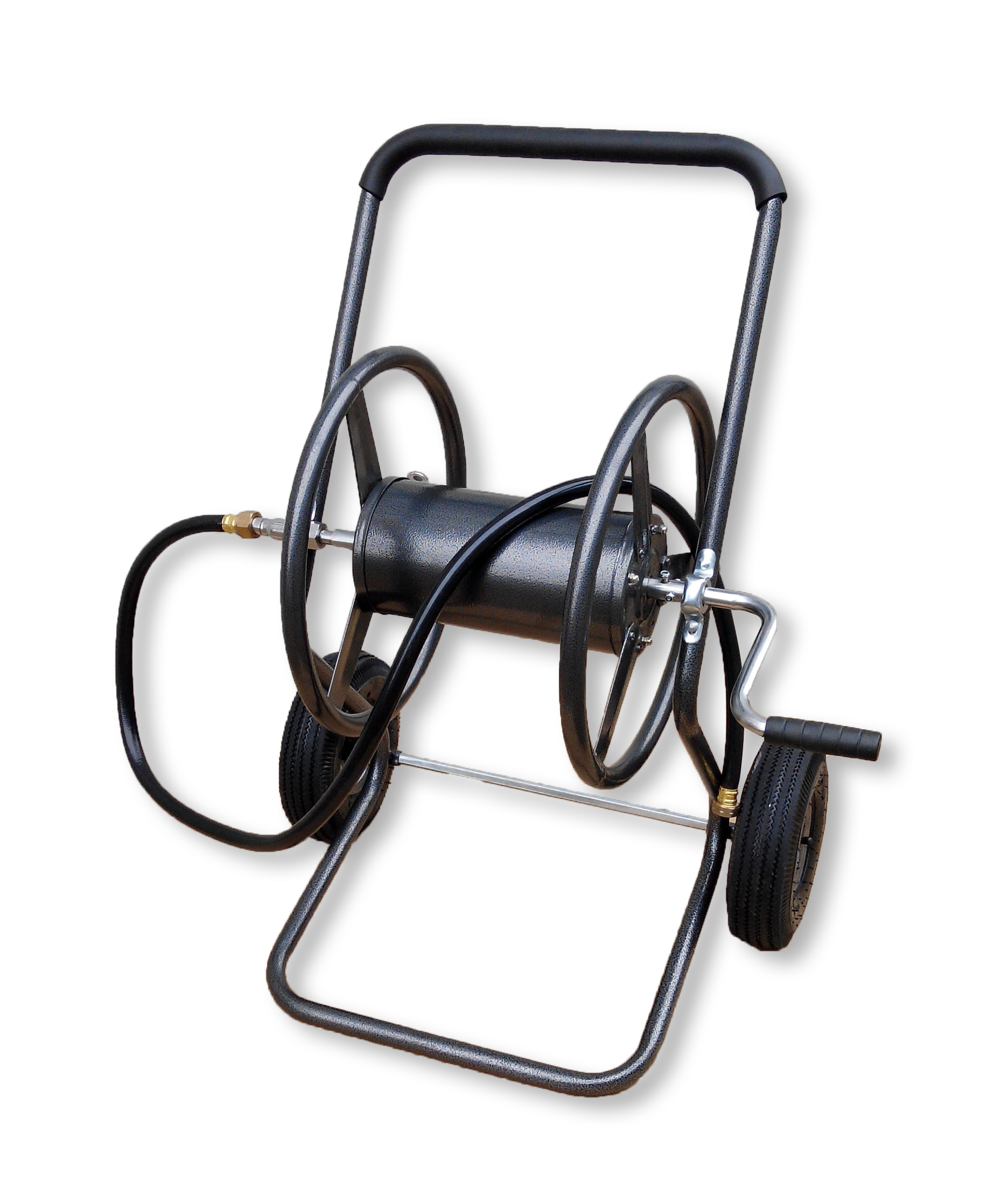 Two Wheel Hose Reel Cart with Leader Hose by Backyard Expressions