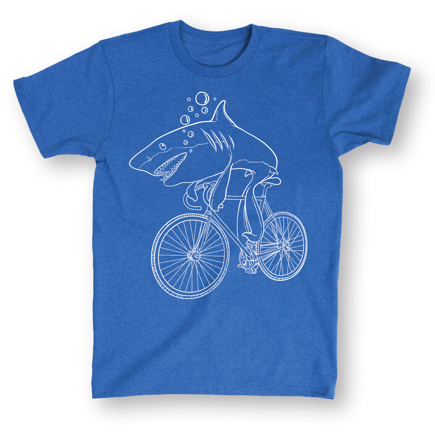 Shark Riding A Bicycle White Outline Ocean Blue T-Shirt For Men