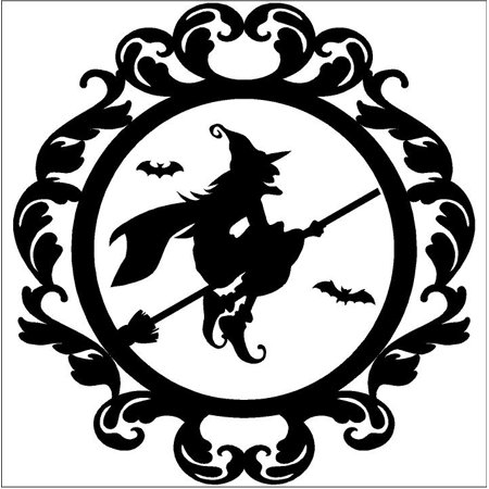 Halloween Apples Saying (Halloween vinyl decal Frame #12 Flying Witch on Broom portrait vinyl lettering (Medium)