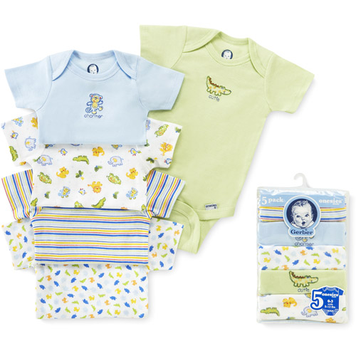 Gerber - Assorted Short-Sleeve Onesies, 5-Pack