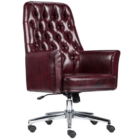 - A Line Furniture Burgundy Leather and Chrome Multifunction Button-tufted Executive Swivel Office Chair