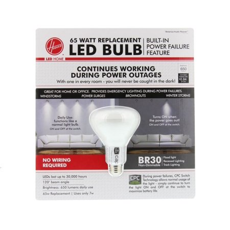 CPC BR30 65 Watt Replacement LED Power Failure Lightbulb By Hoover