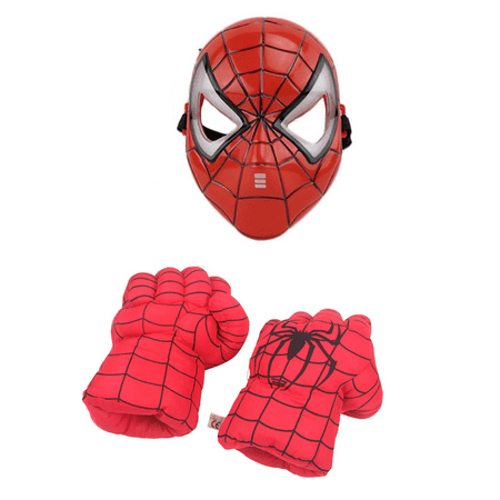 LED Light Superhero Mask + Plush Smash Gloves Combo - Spiderman Mask And Gloves