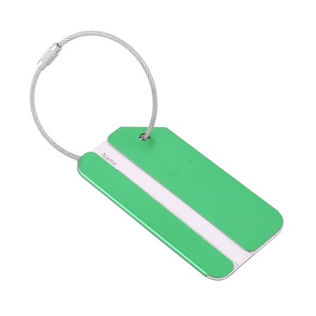 Rectangle Name Tags - Unique Bargains Outdoor Travel Aluminium Alloy Rectangle Luggage Tag Name Label Key Holder Green