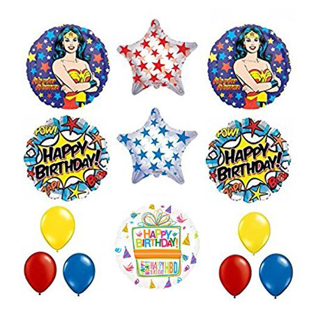 Wonder Woman 13 pc Superhero Birthday Party Supplies and Balloon Decorations - Super Hero Supplies