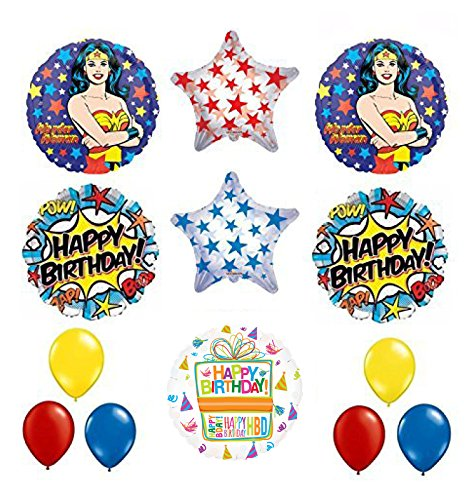 Wonder Woman 13 pc Superhero Birthday Party Supplies and Balloon Decorations