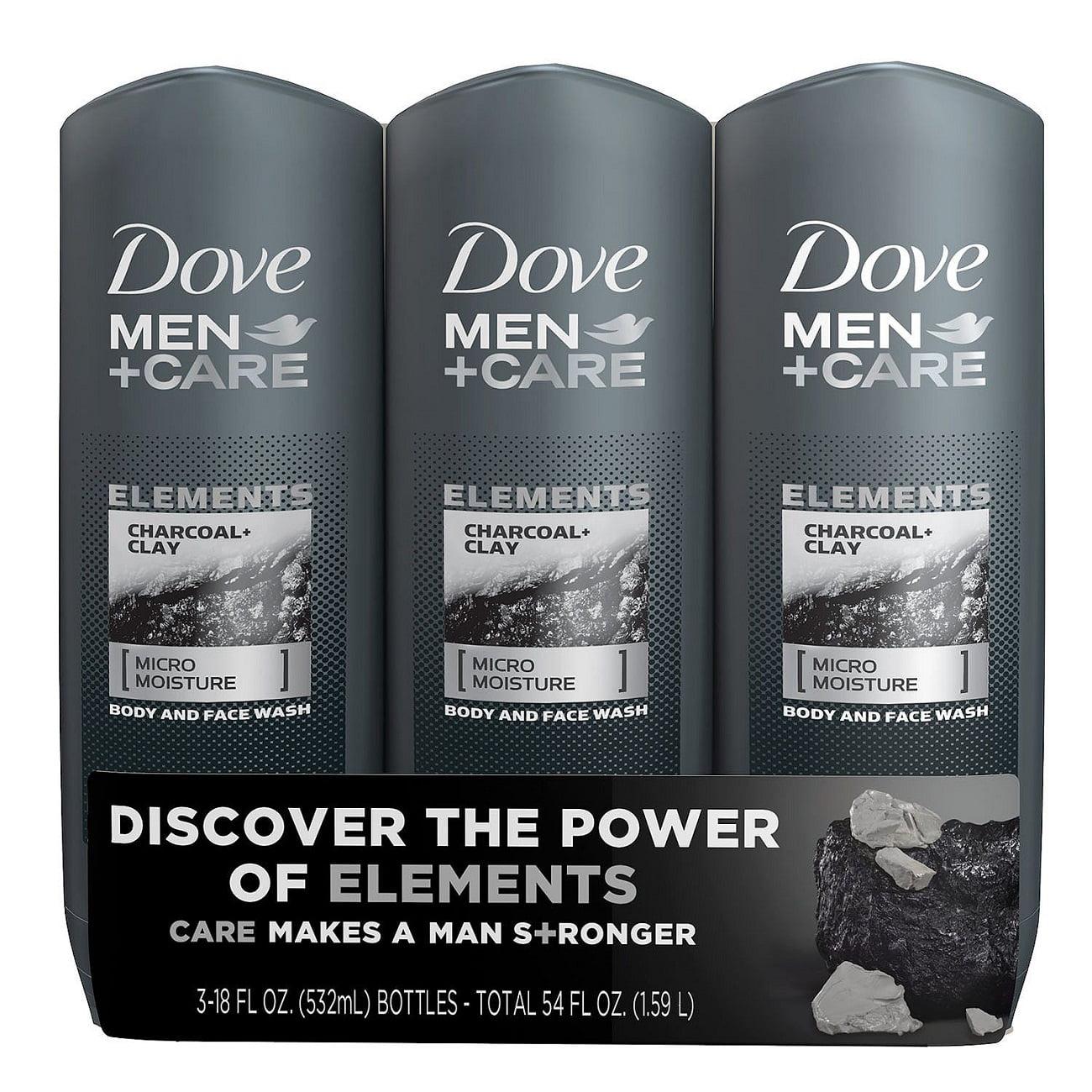 Dove Men+Care Body Wash, Charcoal+Clay (18 fl. oz., 3 pk.)