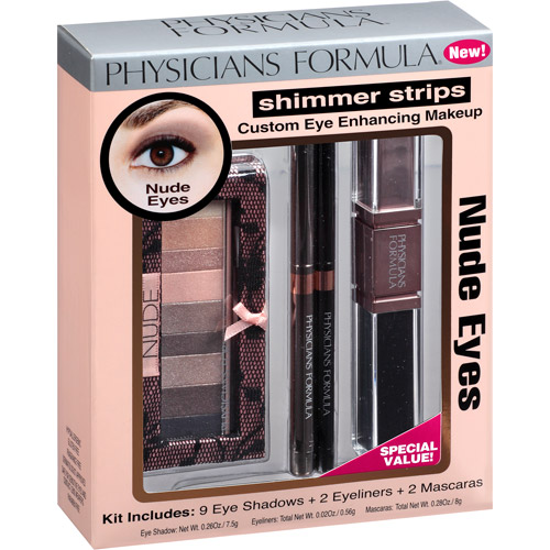 Physicians Formula Shimmer Strips Custom Eye Enhancing Makeup Kit, 6206 Nude Eyes, 13 pc