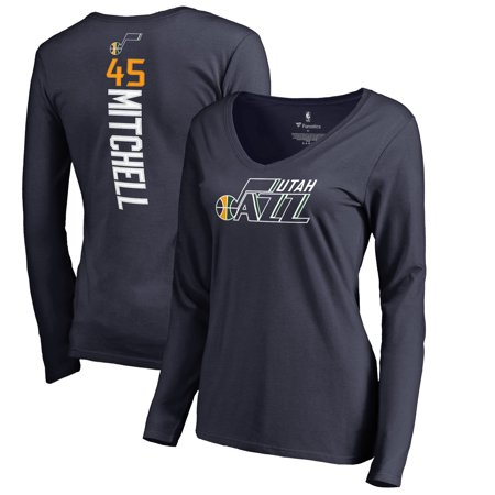 buy popular c178f ffa2a Donovan Mitchell Utah Jazz Fanatics Branded Women's Backer Long Sleeve  V-Neck T-Shirt - Navy