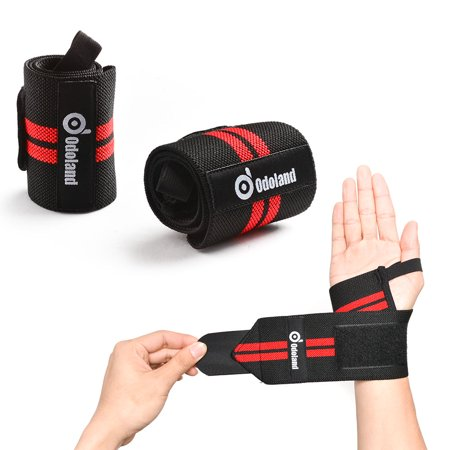 Odoland Adjustable Wrist Wraps Wrist Straps Support Braces Wraps Belt Protector for Weight Lifting Training Set of