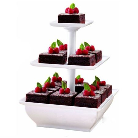 3 Tiers Plastic Square Wedding Cupcake Stand Cake Dessert Tower Display Holder