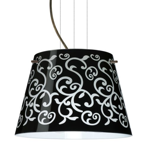 Besa Lighting 1KG-4393BD-LED Amelia 1 Light LED Cable-Hung Pendant with Black Damask Glass Shade