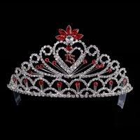 Crystal Rhinestone Girls Royal Red Accent Quinceanera Tiara Headpiece