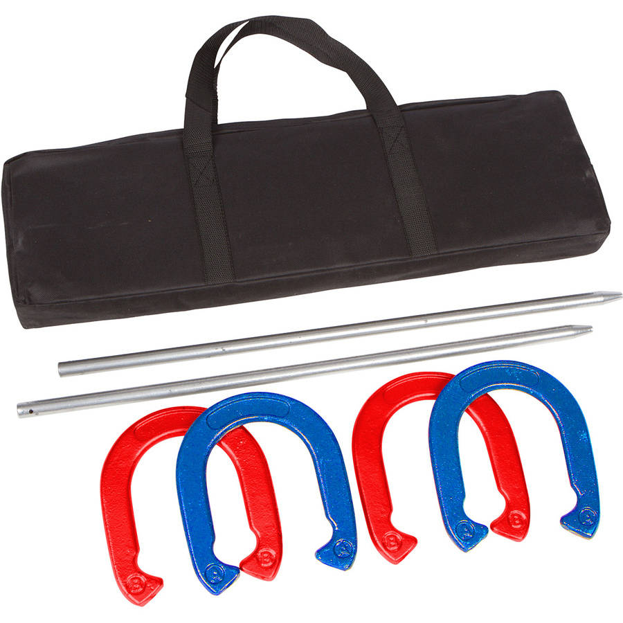 Trademark Innovations Pro Horseshoe Set, Red and Blue Powder Coated Steel