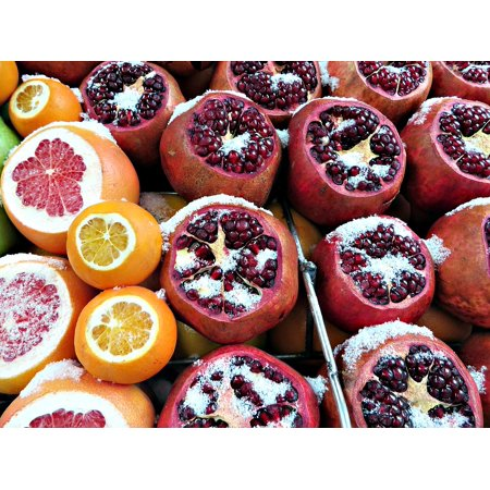 Canvas Print Pomegranate Snow Istanbul Fruit Grapefruit Winter Stretched Canvas 10 x 14