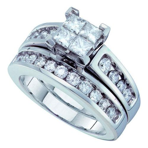 1.50Ctw Diamond Invisible Bridal Set Womens Fixed Ring Size - 7