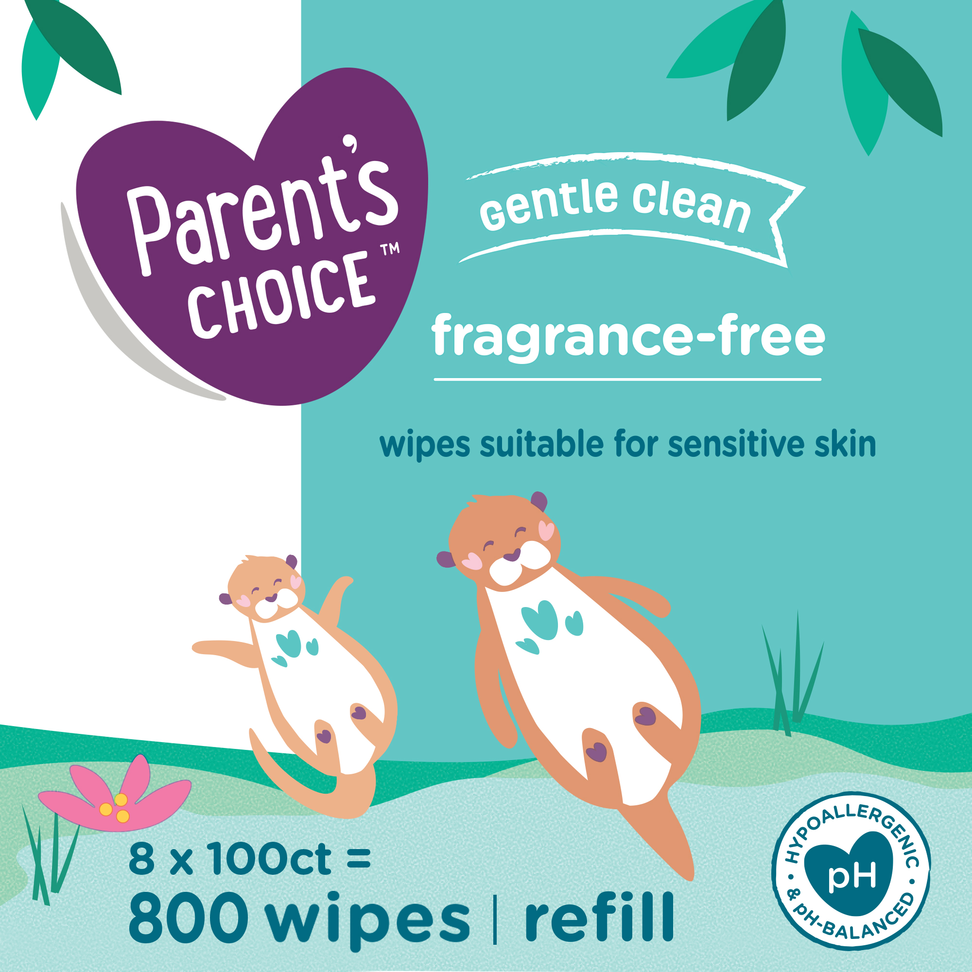 Parent's Choice Fragrance Free Baby Wipes, 8 Flip-Top Packs (800 Count)