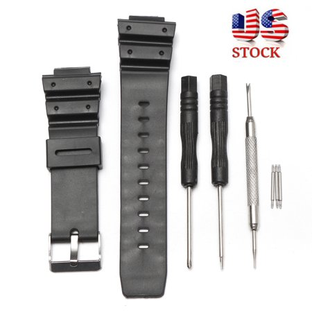 Black Silicon Strap - Black Silicone Rubber Replacement Strap Band WithTool For G-Shock Watch Fitting 25mm Width