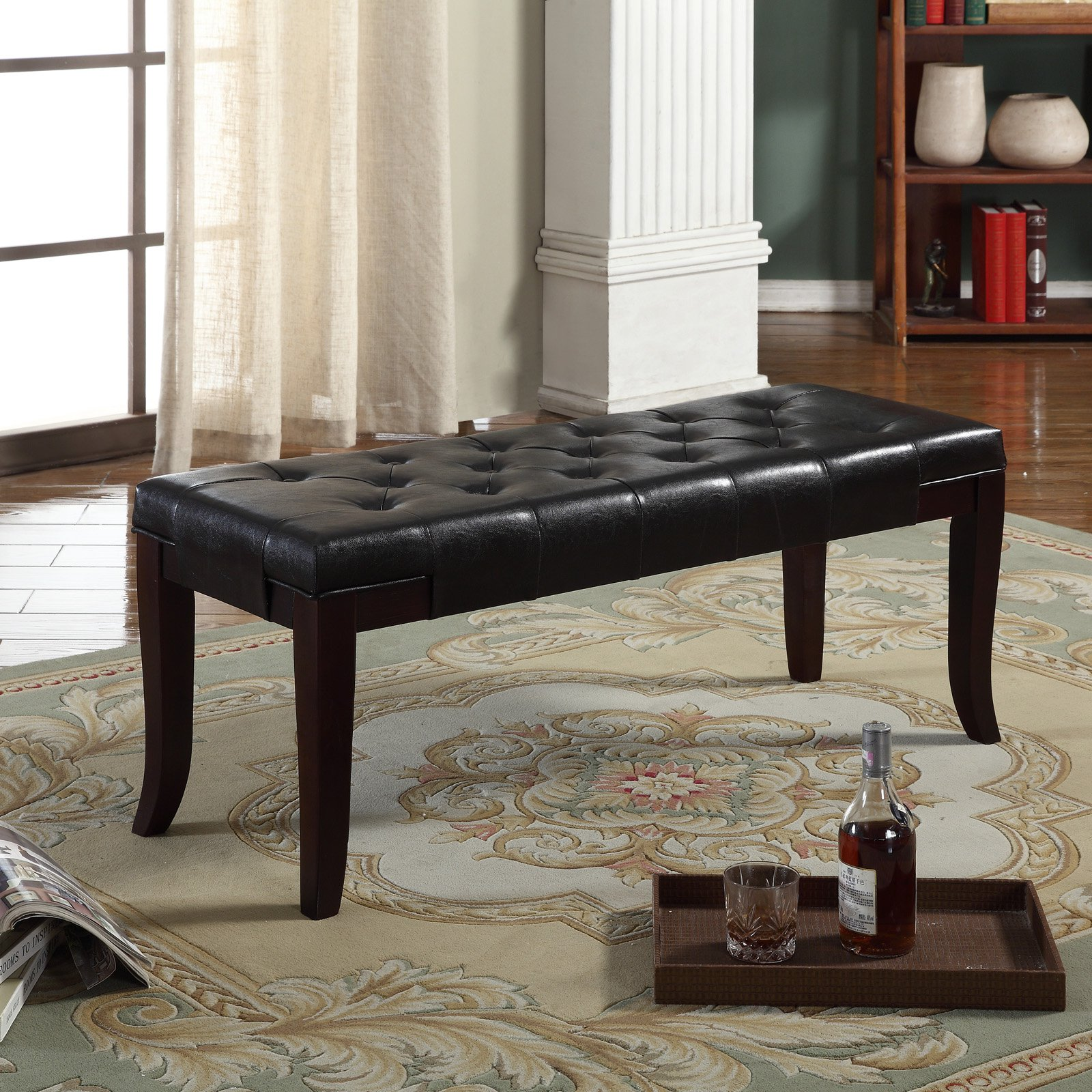 Roundhill Furniture Linon Espresso Leather Tufted Ottoman Bench, Espresso