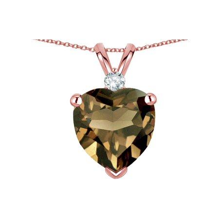 - Star K 8mm Genuine Smoky Quartz Heart Pendant Necklace 14k Rose Gold