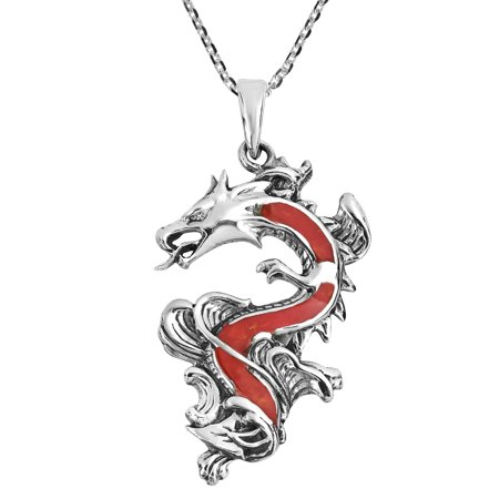 Legendary Chinese Dragon Synthetic Coral Inlaid .925 Sterling Silver Pendant Necklace ()