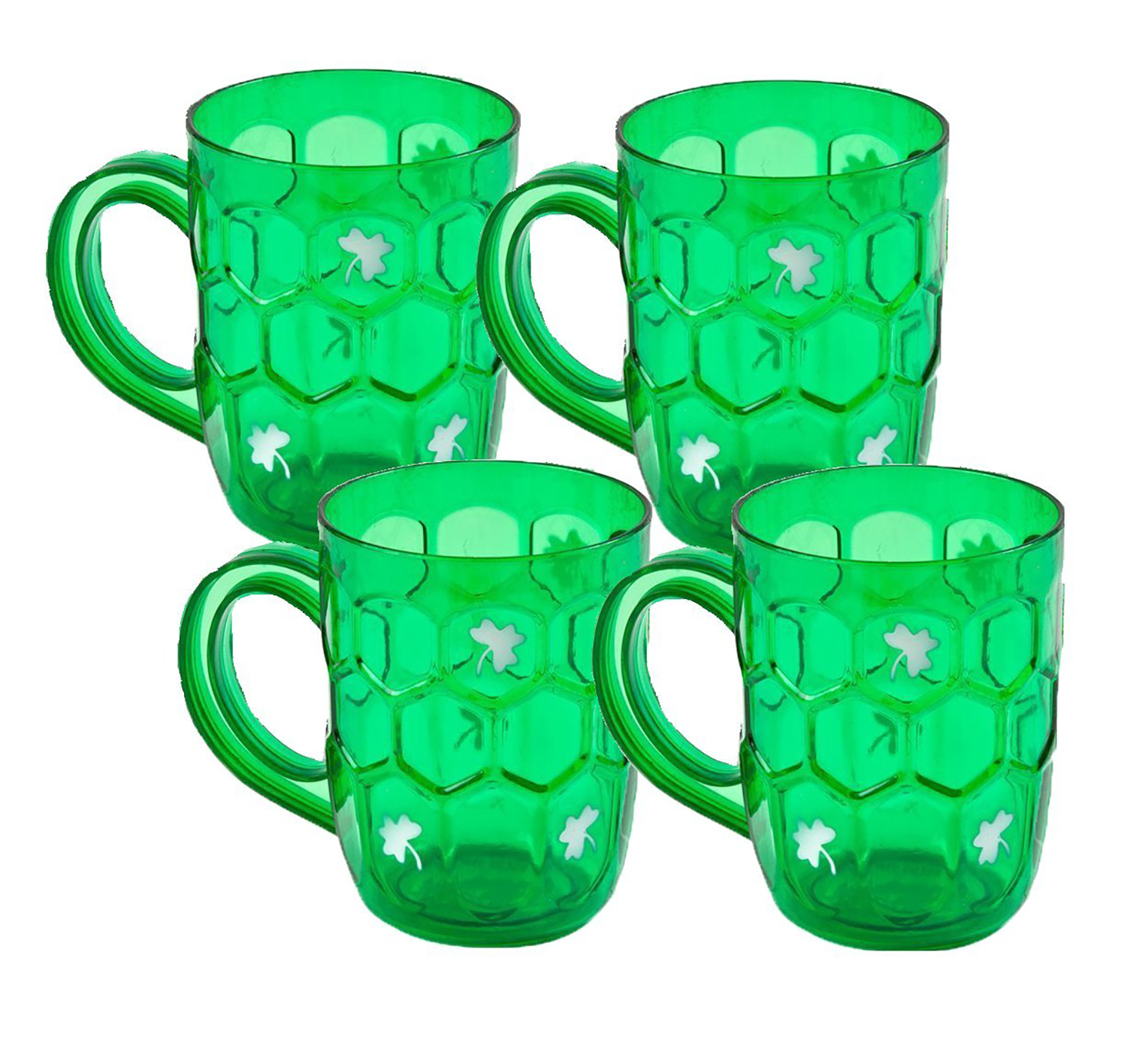 St Patrick's Day Beer Mugs Shamrock 22 oz Plastic Cups, Green, 4 CT