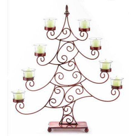 "21.5"" Decorative Red Whimsical Christmas Tree Votive Candle Holder"