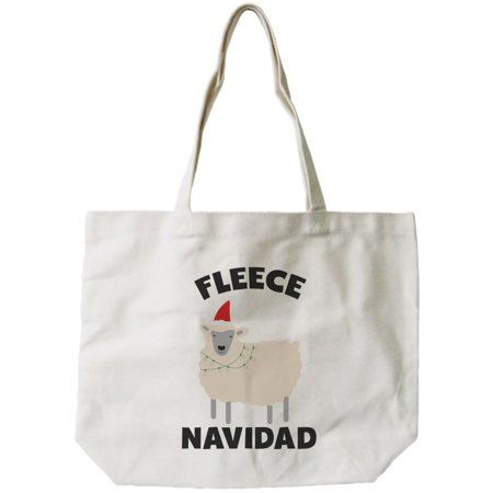 Feliz Navidad Christmas Gift Canvas Bag Custom Funny X-mas Fleece Tote Bag](Custom Totes)