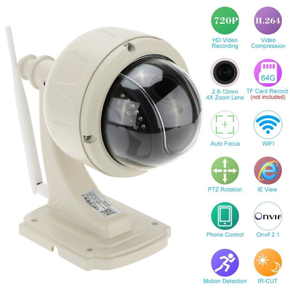 Outdoor High Definition Motion Detection IP Camera HD 720P With 3 Optical Zoom And IR Cut Security Camera