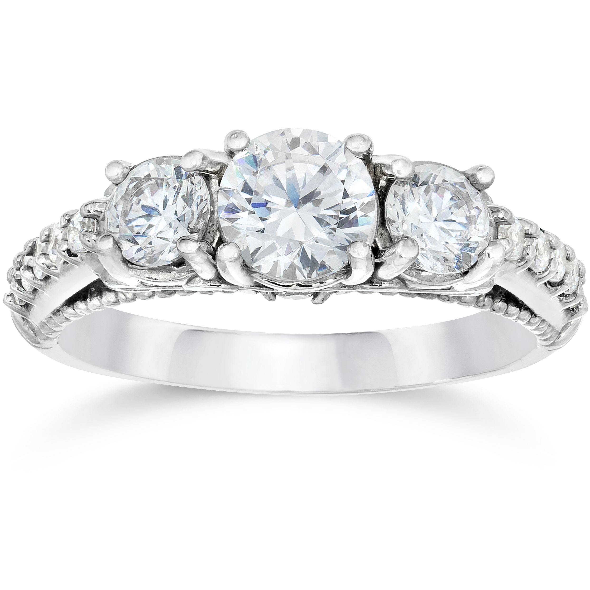 1 1 5ct Vintage Heirloom 3-Stone Round Diamond Engagement Ring 14K White Gold by Pompeii3