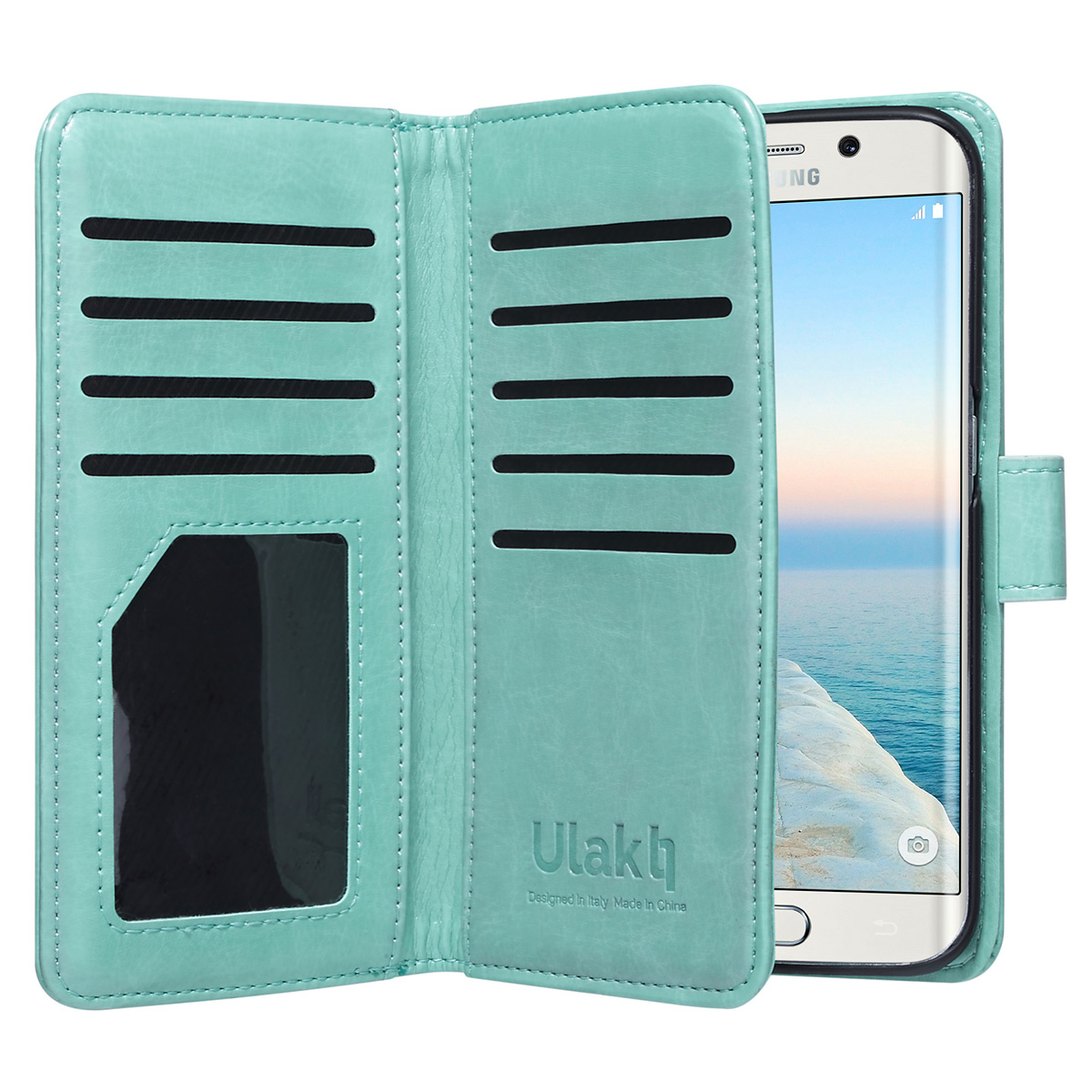 Galaxy S6 Edge Case, ULAK 9 cards Slot Slim PU Leather Stand Wallet Flip Protector Cover with ID & Credit Card Pockets for Samsung Galaxy S6 Edge