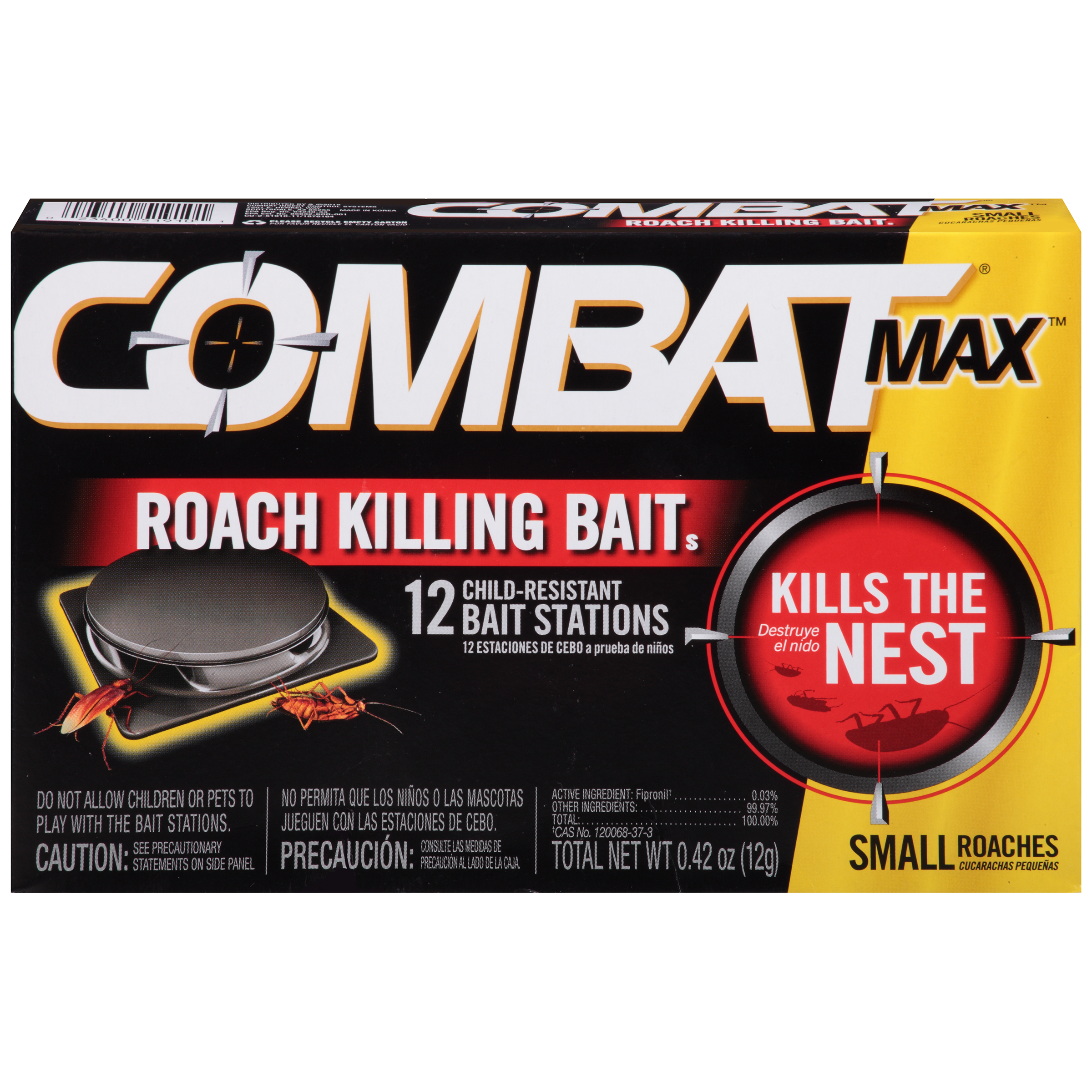 Combat Max Roach Killing Bait, Small Roach Bait Station, 12 Count