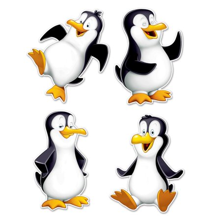 Pack Of 48 Cute Black And White Wintertime Penguin Cutout Party Decorations 16