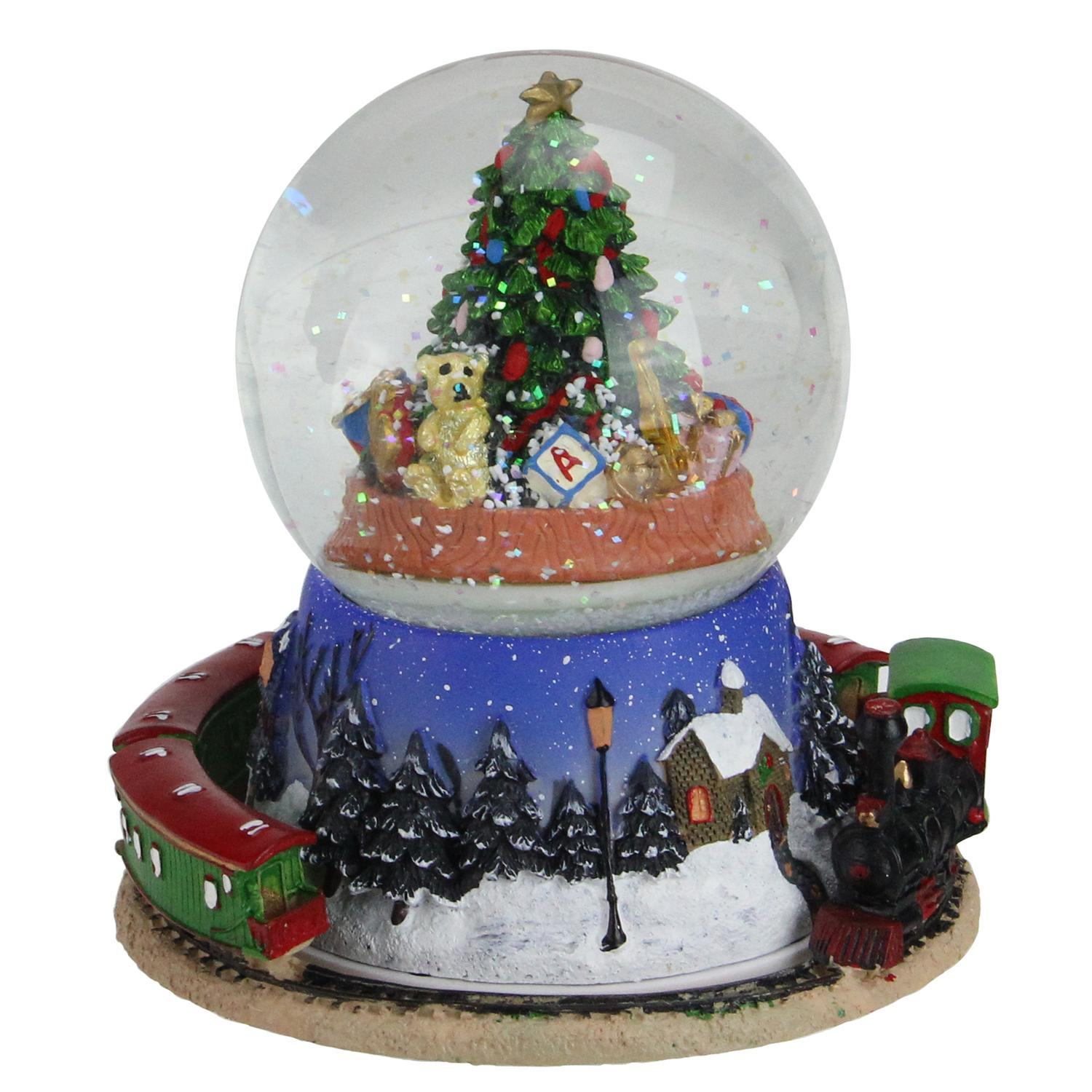 "6.5"" Christmas Tree and Train Revolving Musical Glitterdome Decoration"