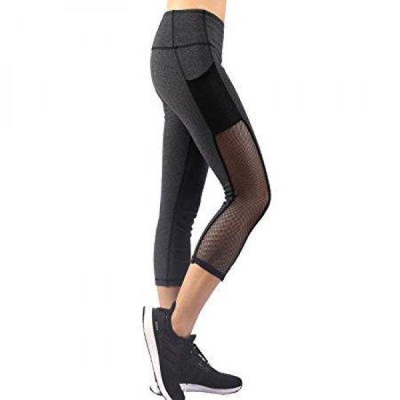 Neonysweets Womens Capri Workout Yoga Pants Running Tights Active Leggings Gray M